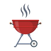 Kettle Trolley Portable Coal Charcoal BBQ Grill vector