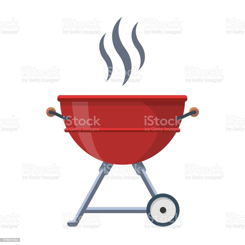 Kettle Trolley Portable Coal Charcoal BBQ Grill vector vector art illustration