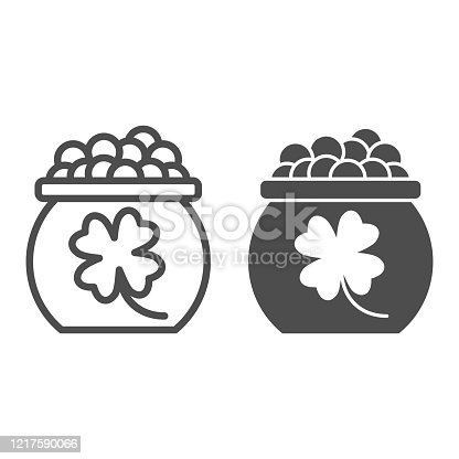istock Kettle with gnome coins line and solid icon. Pot full of golden coin with clover outline style pictogram on white background. Patrick day treasure for mobile concept and web design. Vector graphics. 1217590066