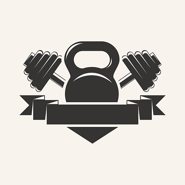 ilustrações, clipart, desenhos animados e ícones de kettlebell e haltere com baner logotipo - personal trainer