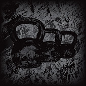 Vector of Kettlebells Silhouette on grunge Background