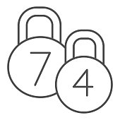 Kettlebells thin line icon. Two Sport Dumbbells illustration isolated on white. Weight kilogram sport kettlebells outline style design, designed for web and app. Eps 10