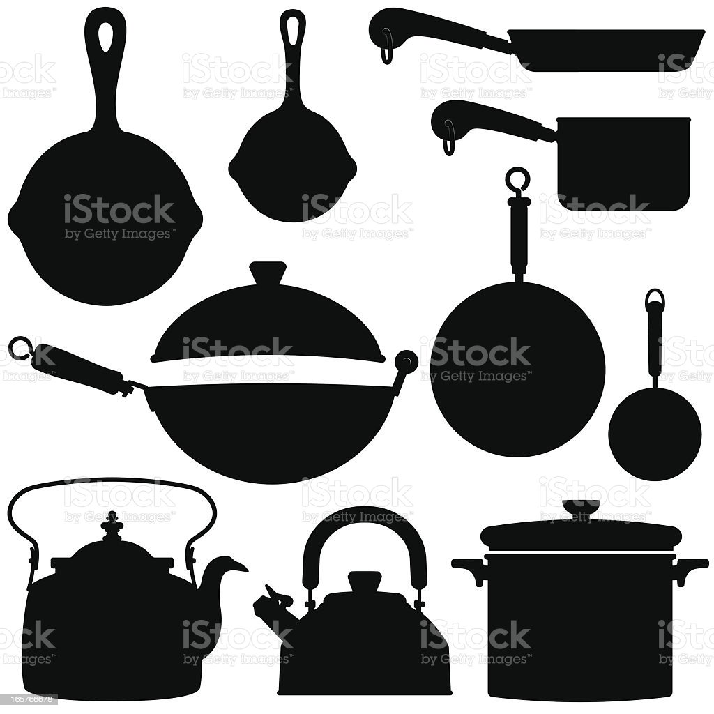 Kettles Pots and Pans silhouettes royalty-free kettles pots and pans silhouettes stock vector art & more images of black color