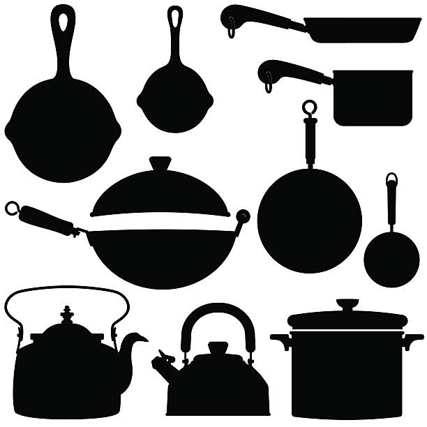 Kettles Pots and Pans silhouettes Kettles Pots and Pans silhouettes including: wok, whistling kettle, dutch kettle, frying pans, cast iron skillet, etc. frying pan stock illustrations
