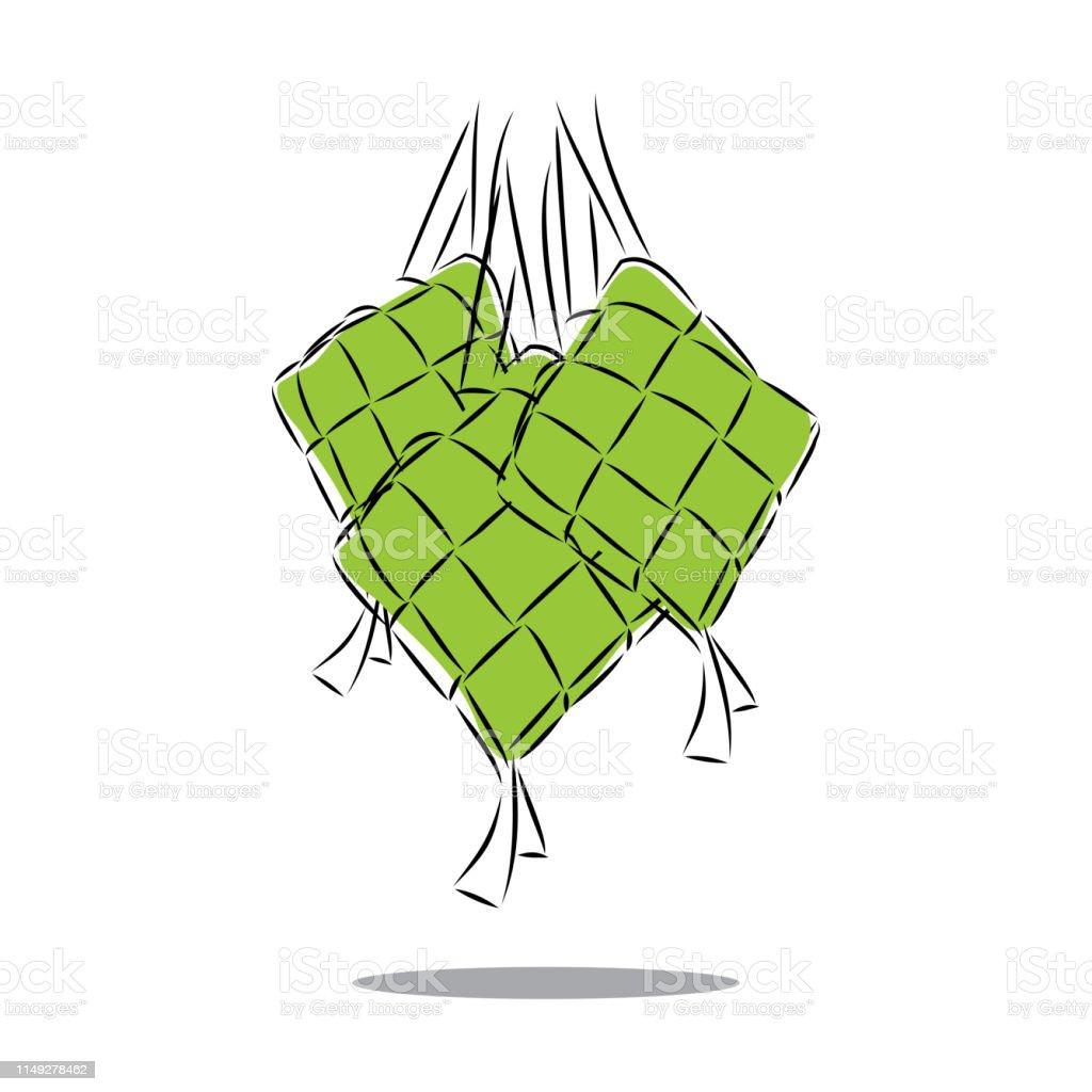ketupat food vector, islamic greeting, eid mubarak traditional food vector art illustration