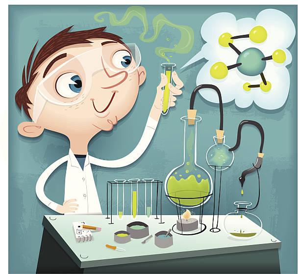 kevin der chemie hausaufgaben - wissenschaftliches labor stock-grafiken, -clipart, -cartoons und -symbole