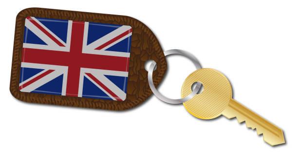 ilustrações, clipart, desenhos animados e ícones de fob e chave uk - bandeira union jack