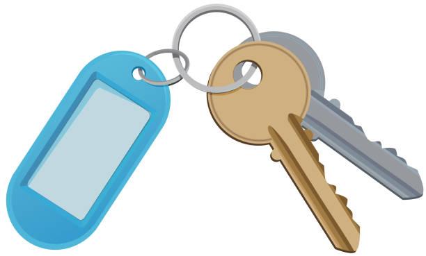 key and keychain. vector illustration isolate on white - keys stock illustrations, clip art, cartoons, & icons