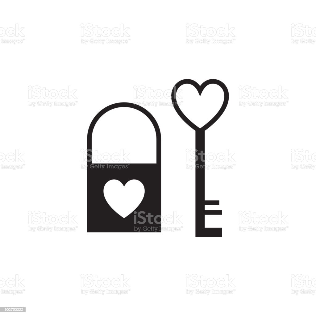 Key And Lock In The Shape Of A Heart Icon Valentines Day Elements