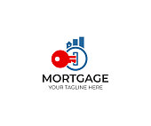 Key and real estate from graph logo design. Mortgage and chart from buildings vector design. Finance and property illustration