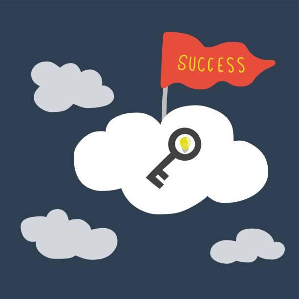 schlüssel und erfolg flagge auf wolke, business-konzept - schlüsselfertig stock-grafiken, -clipart, -cartoons und -symbole