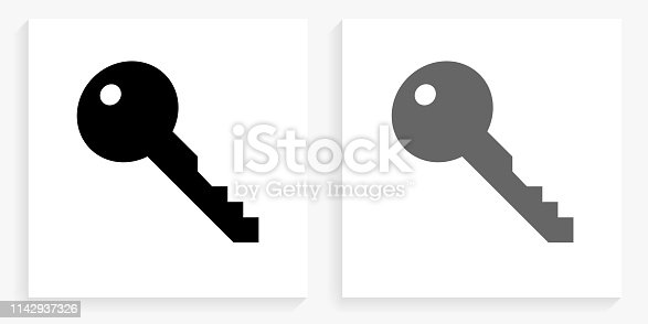 Key Black and White Square Icon. This 100% royalty free vector illustration is featuring the square button with a drop shadow and the main icon is depicted in black and in grey for a roll-over effect.