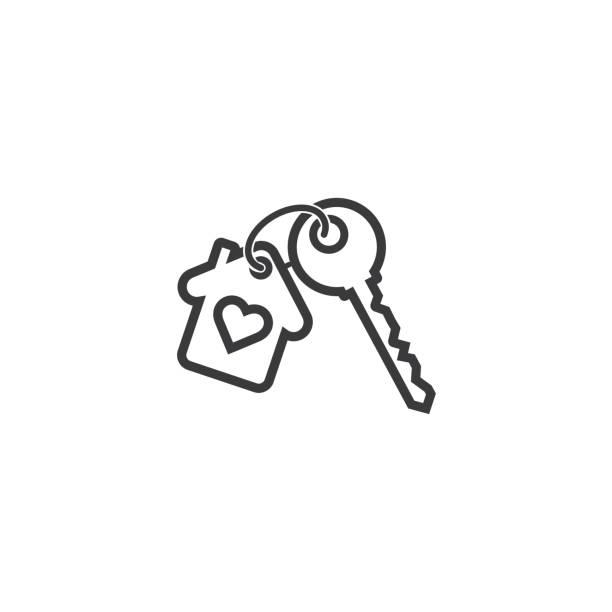 Key chain icon- house keys - Vector Key chain icon- house keys - Vector house key stock illustrations