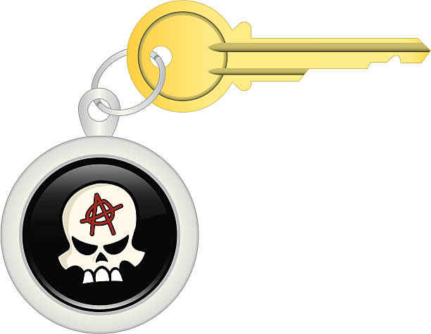 Key Chain –Skull Anarchy A stylized skull with anarchy symbol adorns your keychain! An illustration of a key and keychain. Elements are grouped separately for easy editing.  Plenty of space for text/copy. anarchy symbol stock illustrations