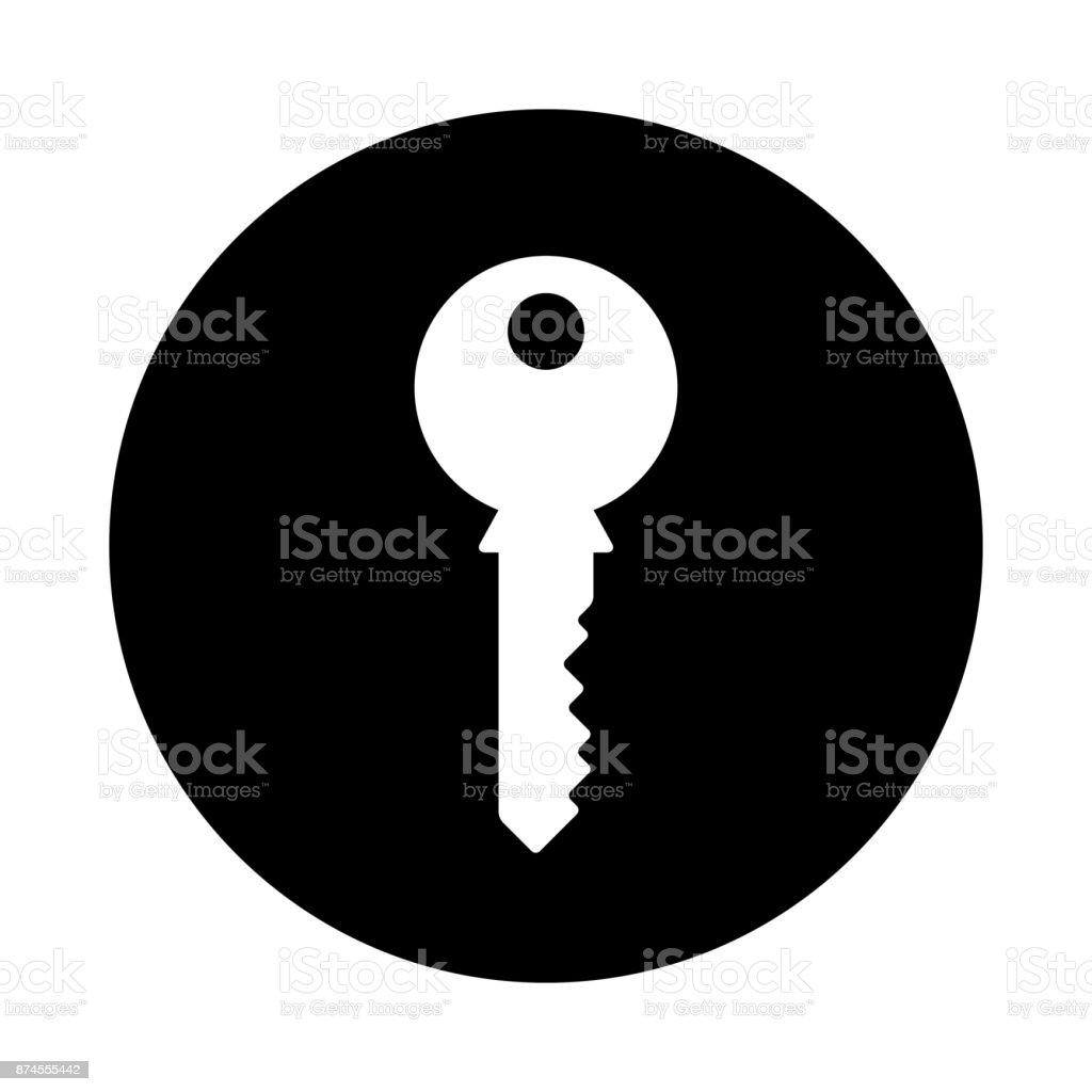 Key Circle Icon Black Round Minimalist Icon Isolated On White