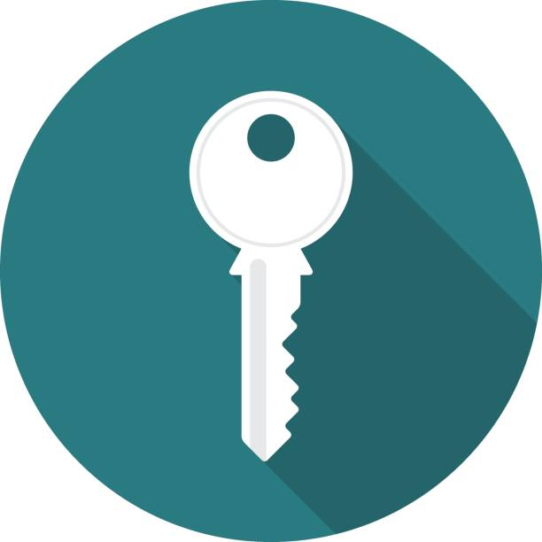 key circle icon with long shadow. flat design style. - keys stock illustrations, clip art, cartoons, & icons