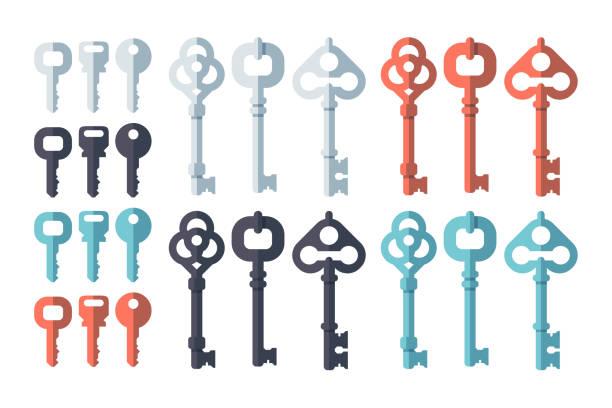 key flat design set - keys stock illustrations, clip art, cartoons, & icons