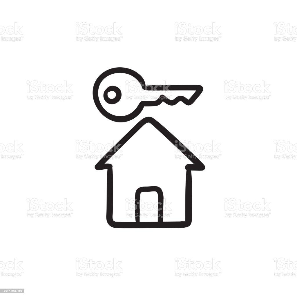 Schlüssel Zum Haus Skizzesymbol Stock Vektor Art und mehr Bilder von ...