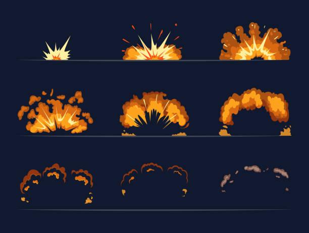Key frames of bomb explosion. Cartoon illustration in vector style Key frames of bomb explosion. Cartoon illustration in vector style. Bomb explosion and cartoon bang burst dynamite vector bangs stock illustrations