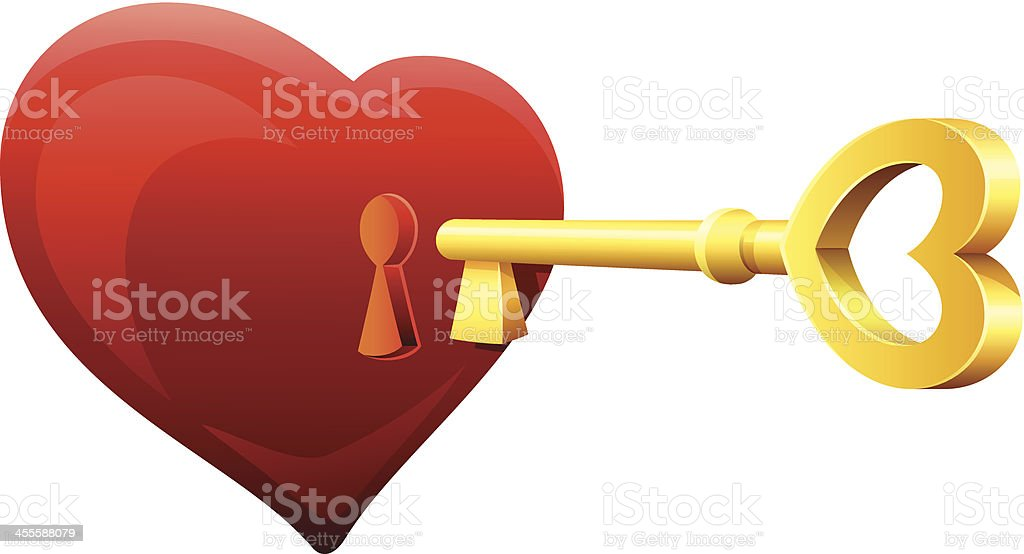 Key from Your Heart vector art illustration