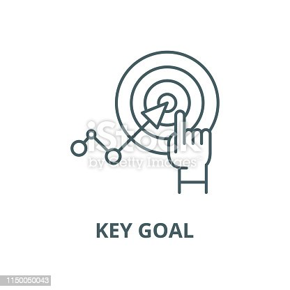 Key goal vector line icon, outline concept, linear sign