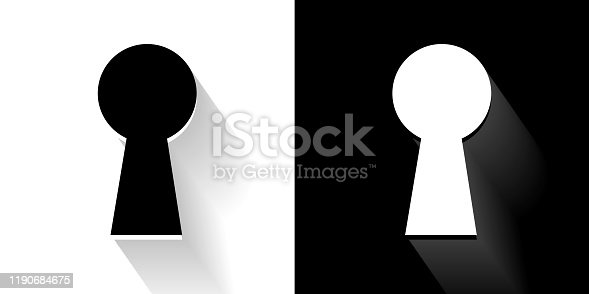 Key Hole  Black and White Icon with Long Shadow. This 100% royalty free vector illustration is featuring the square button and the main icon is depicted in black and in white with a black icon on it. It also has a long shadow to give the icons more depth.