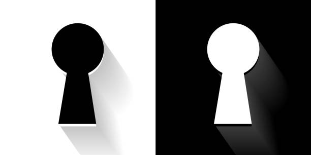 Key Hole  Black and White Icon with Long Shadow Key Hole  Black and White Icon with Long Shadow. This 100% royalty free vector illustration is featuring the square button and the main icon is depicted in black and in white with a black icon on it. It also has a long shadow to give the icons more depth. keyhole stock illustrations