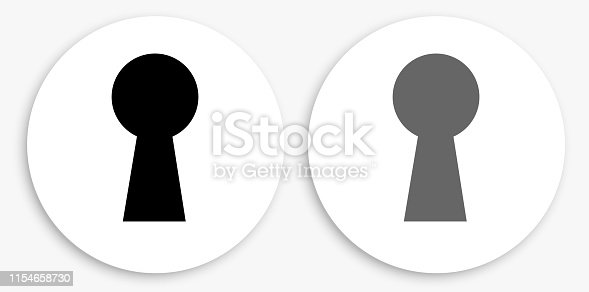 Key Hole Black and White Round Icon. This 100% royalty free vector illustration is featuring a round button with a drop shadow and the main icon is depicted in black and in grey for a roll-over effect.
