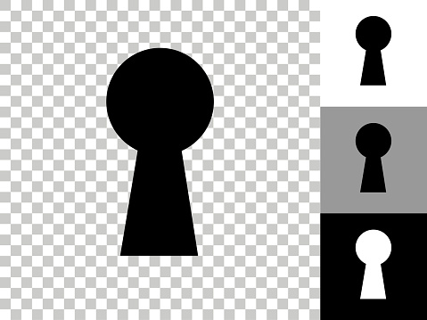Key Hole Icon on Checkerboard Transparent Background. This 100% royalty free vector illustration is featuring the icon on a checkerboard pattern transparent background. There are 3 additional color variations on the right..