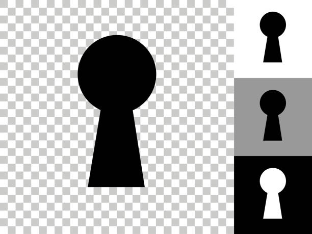 Key Hole Icon on Checkerboard Transparent Background vector art illustration