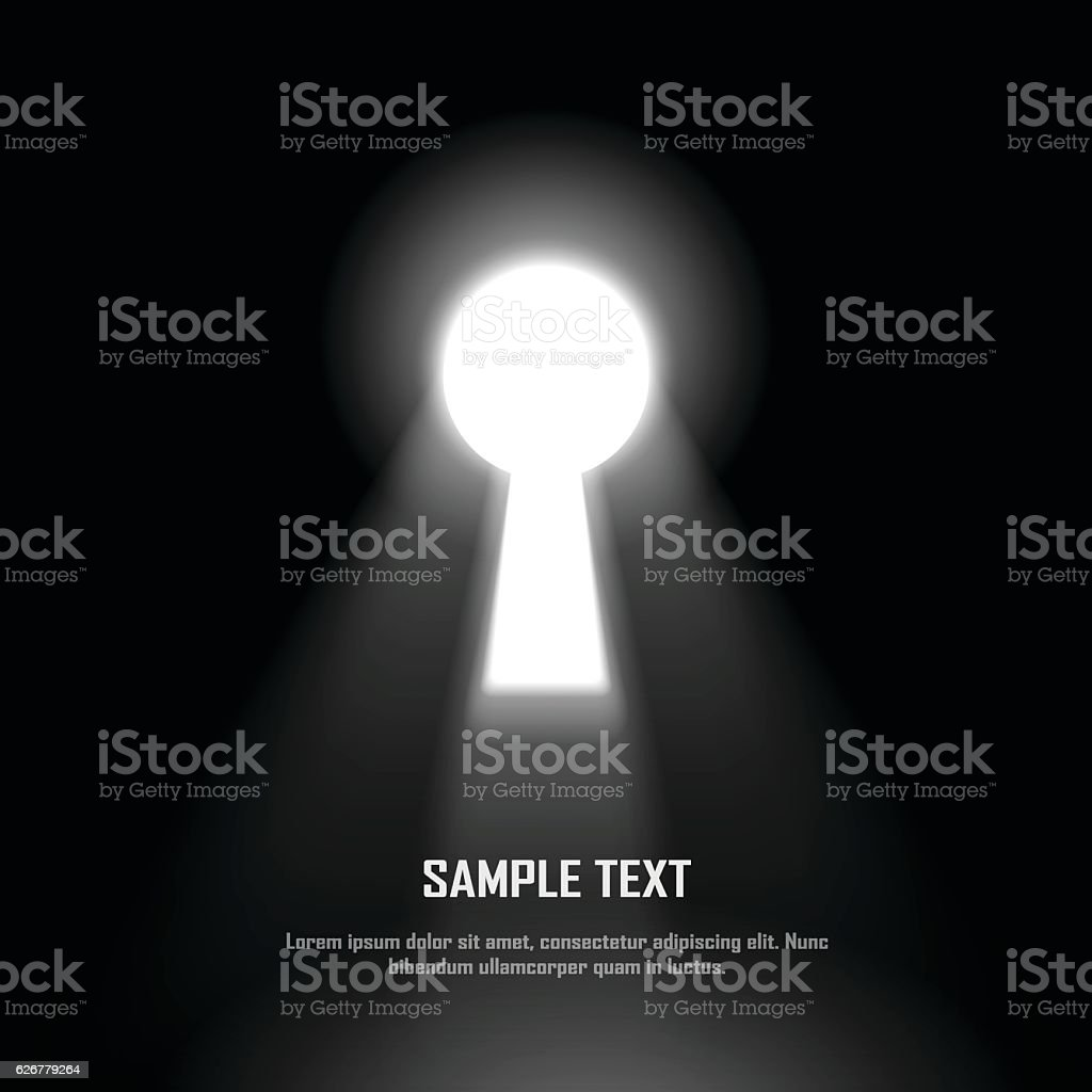 Key hole on black wall with light effect vector art illustration