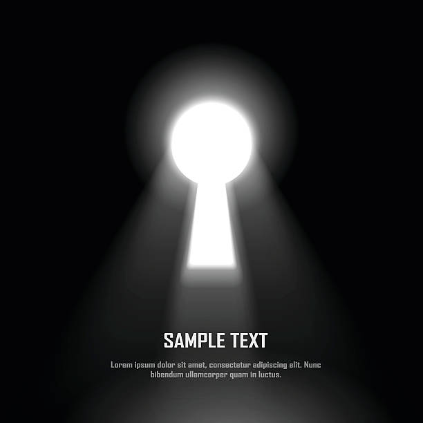 bildbanksillustrationer, clip art samt tecknat material och ikoner med key hole on black wall with light effect - mysterium