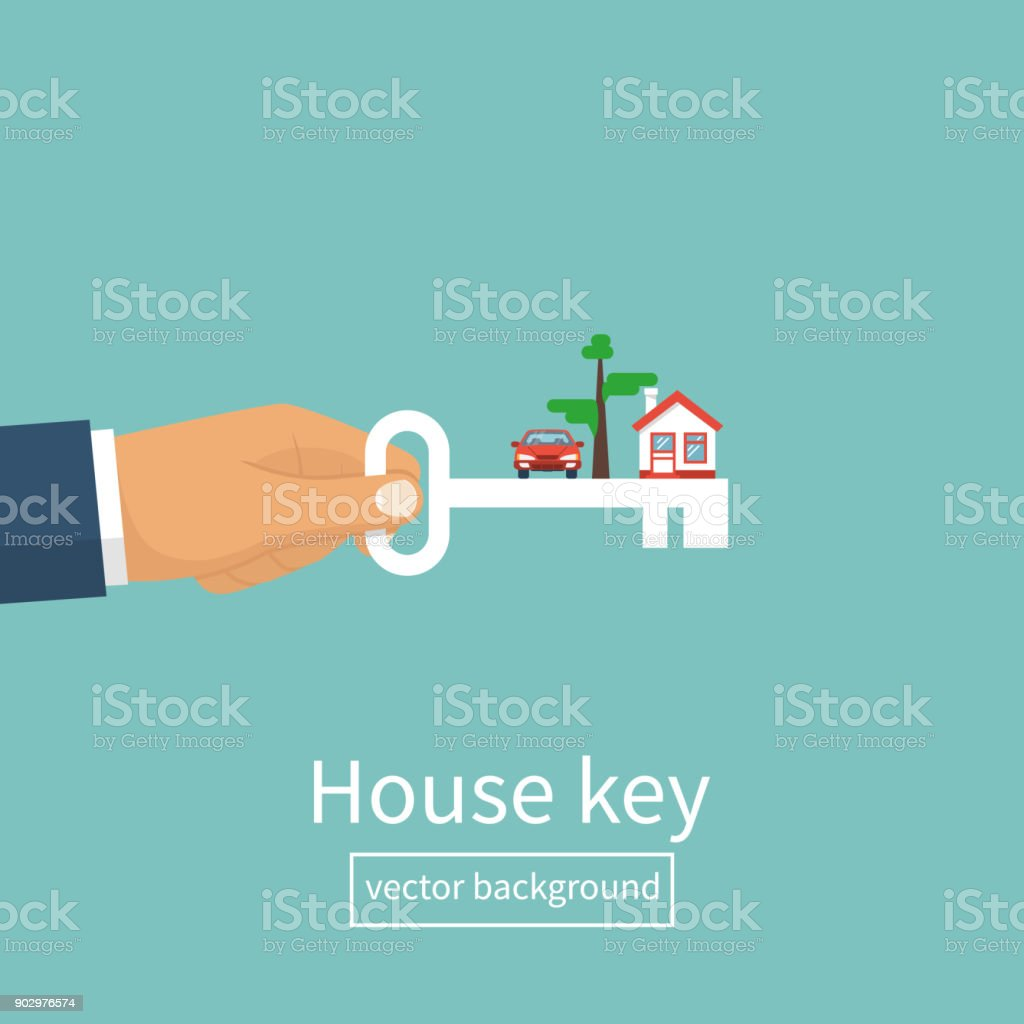 Schlüssel In Der Hand Nach Hause Mann Stock Vektor Art und mehr ...