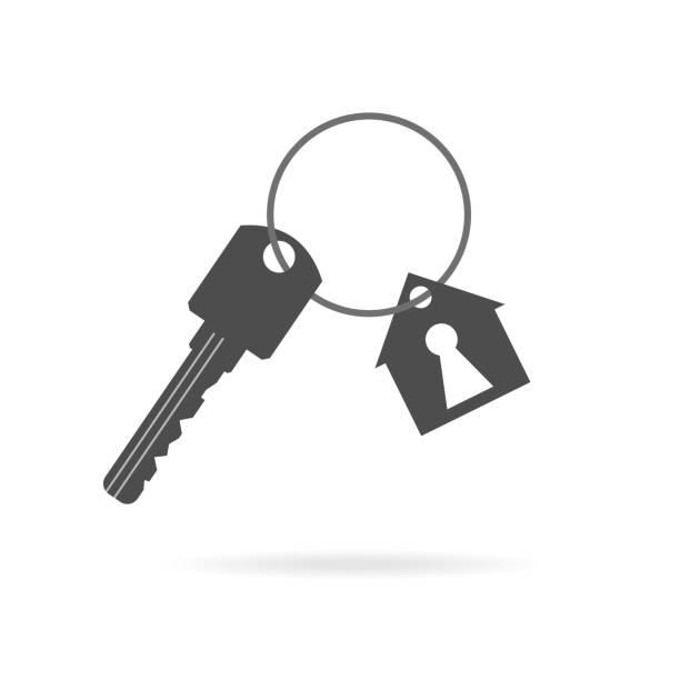 열쇠 체인, 부동산 소유권, 부동산 구매 및 판매 개념이있는 반지의 키 하우스. 보안의 핵심은 보안입니다. 벡터 일러스트레이션 eps 10 - home icon stock illustrations