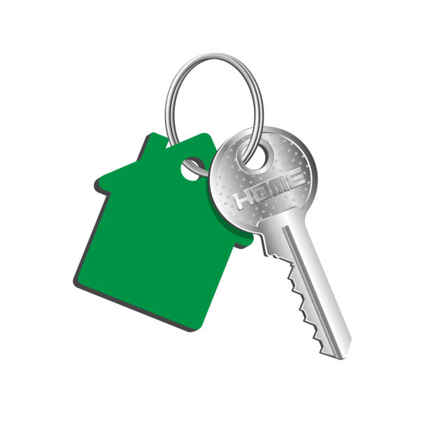 ilustrações de stock, clip art, desenhos animados e ícones de key house on the ring with a green key fob, rental of property, concept of sale purchase of real estate - buy a house key
