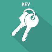Key Icon. Flat style