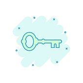 Key icon in comic style. Access login vector cartoon illustration pictogram. Password key business concept splash effect.