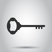 Key icon in flat style. Access login vector illustration on white background. Password key business concept.