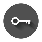 Key Icon vector illustration in flat style.