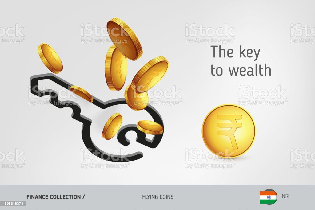Key Icon With Flying Indian Rupee Coins Finance Concept