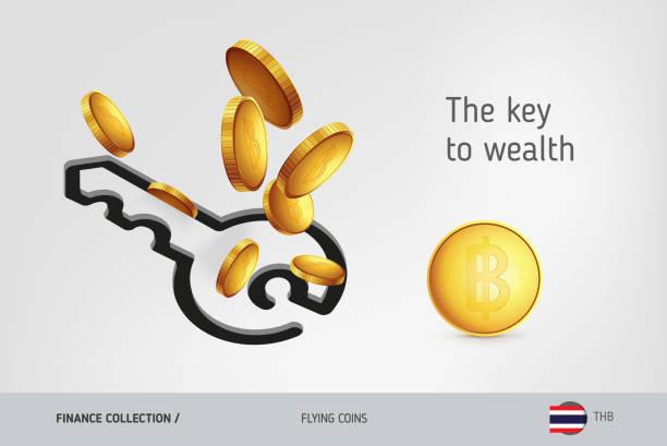 stockillustraties, clipart, cartoons en iconen met sleutelpictogram met vliegende thailand baht-munten, financiën concept. vectorillustratie voor afdrukken, websites, webdesign, mobiele app, infographics. - thaise munt