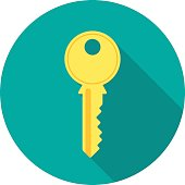 istock Key icon with long shadow. 629665280