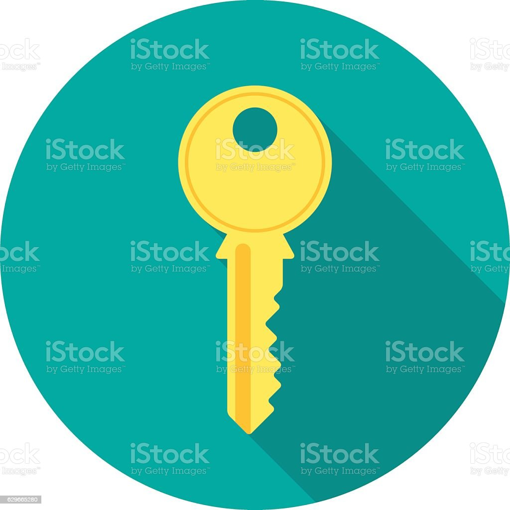 Key icon with long shadow. vector art illustration