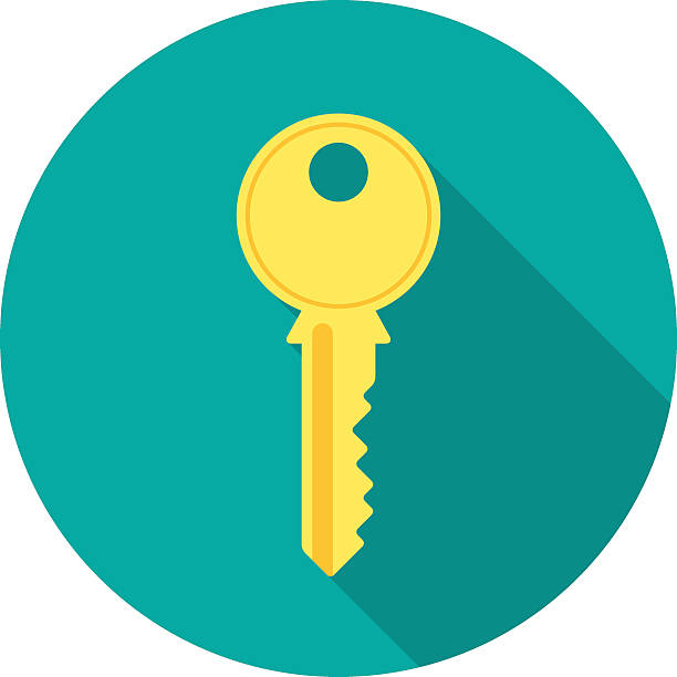 Key icon with long shadow. Key icon with long shadow. Flat design style. Round icon. Key silhouette. Modern flat icon in stylish colors. Web site page and mobile app design element. vehicle door stock illustrations