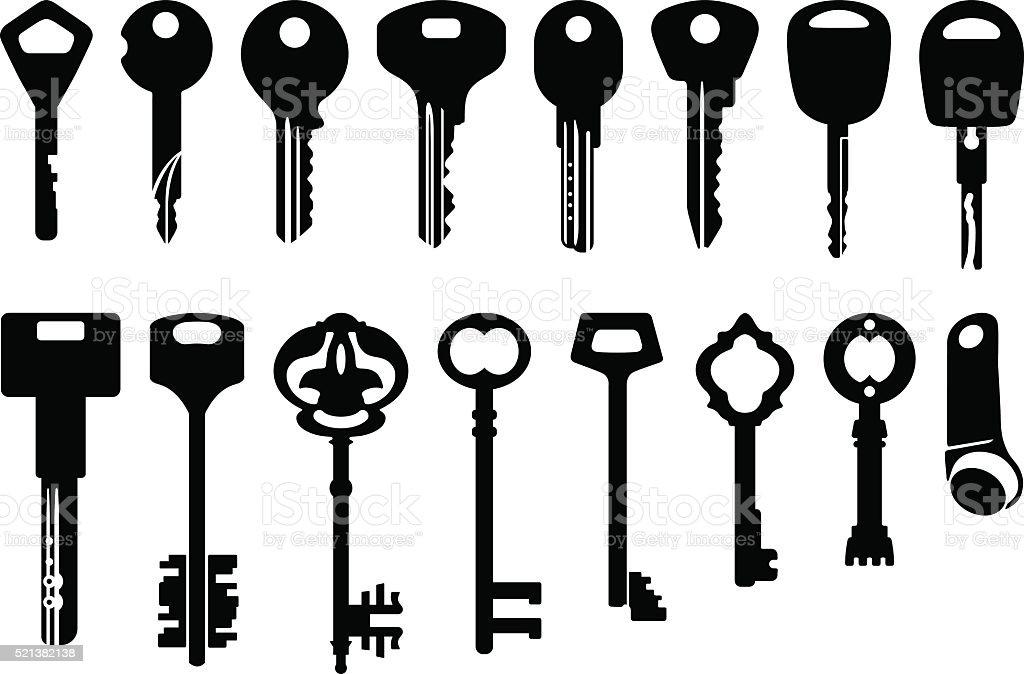 Vector Key Illustration: Key Icons Set Illustration Stock Vector Art & More Images