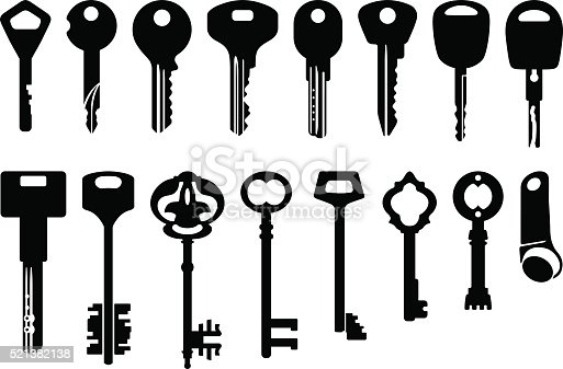 Set of modern, decorative and old keys