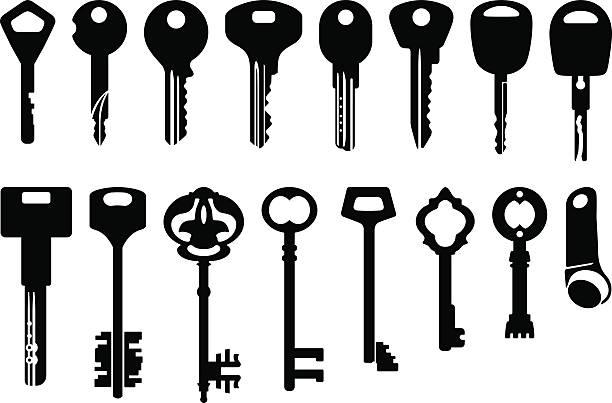 key icons set - illustration - keys stock illustrations, clip art, cartoons, & icons