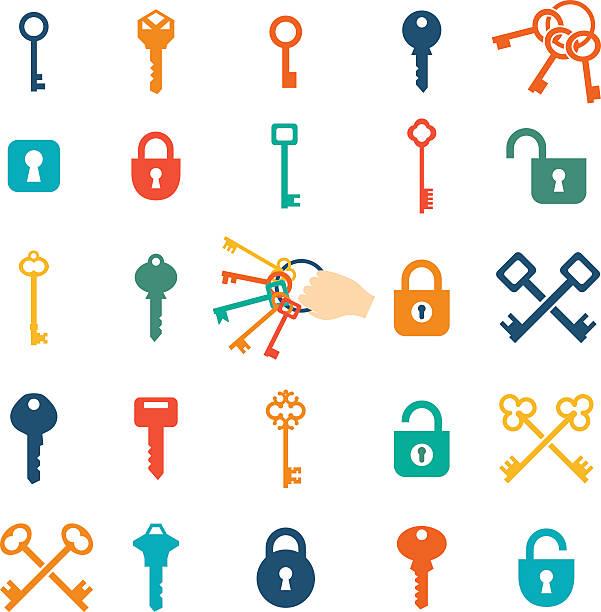 ikony klucza - klucz stock illustrations