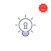 Key Idea Single Line Icon with Editable Stroke and Pixel Perfect.