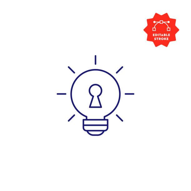 illustrazioni stock, clip art, cartoni animati e icone di tendenza di key idea single line icon with editable stroke and pixel perfect. - opportunità